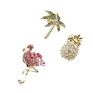 Amosfun 3 Stück Ananas-Brosche Kristall lebhafte Flamingo-Brosche Kristall Tropische Brosche Clips für Frauen Mädchen