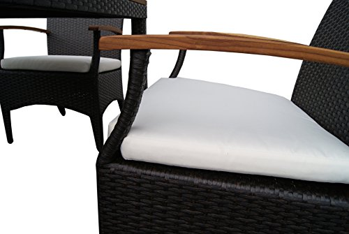 rattan gartenm bel garten tisch set f r 4 personen mit 4 st hlen aus rattan und teakholz. Black Bedroom Furniture Sets. Home Design Ideas