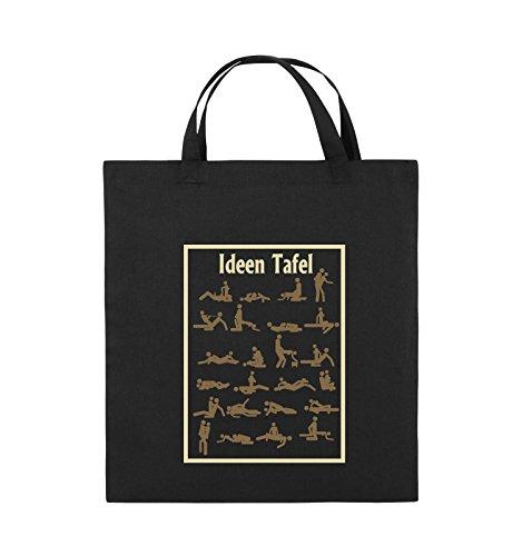 e570a3aa948db Comedy Bags - Ideen Tafel - SEXSTELLUNG - Jutebeutel - kurze Henkel -  38x42cm - Farbe