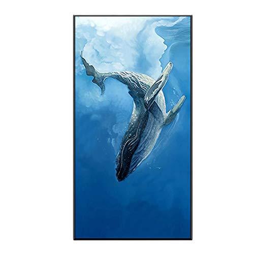 Stickers muraux Décoration Murale Nordic Peinture Décorative Moderne Tenture Murale Peinture Mur Bleu Baleine Murale Poisson Vertical Cadeau (Color : Blue, Size : 45 * 88cm)