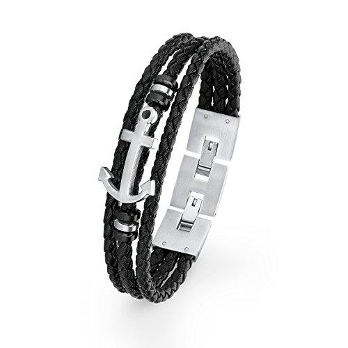 S.Oliver Herren Armband Leder geflochten mit maritimen Edelstahl-Anker 20+1,5 cm schwarz