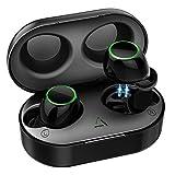TWS Auricolari Bluetooth 5.0 Controllo Toccabile, IPX7 Impermeabile e 21H Riproduzione True Cuffie Wireless con Custodia di Ricarica Portatile, Auricolari Mini con Microfono Incorporato