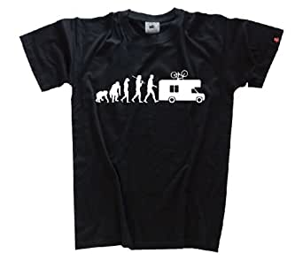 Shirtzshop Erwachsene T-Shirt Original Evolution Caravan Camper, Schwarz, S, ss-shop-ev2_carav-t