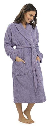 Tom Franks Damen Morgenrock Bademantel, Einfarbig Violett - Fliederfarben