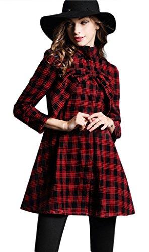 La Vogue Robe Courte Trapèze Tunique Pull Manche Longue Carreaux Hiver Rouge