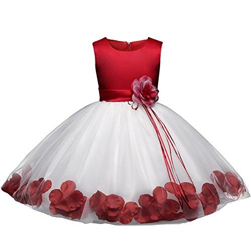 Saum Kreis Rock (BaiXia Mädchen Spitze Blumen Baby Kinder Geburtstag Festzug Prinzessin Kleid Burgund 3)
