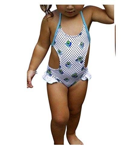 Badebikini zahuihuiM Einteiler Bikini Scherzt Baby Mädchen Netter Muster Druck Badebekleidungs Kleid Badeanzug (120, Blau)