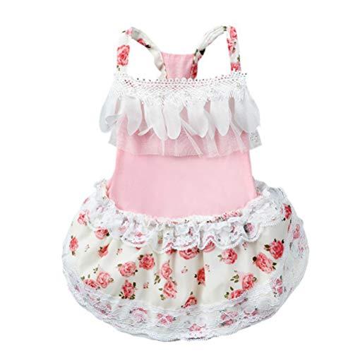Feidaeu Haustier-Hochzeits-Kleid-Hundekatze-Baumwollsleeveless Rock Chiffon- Blumenrose Elegante Spitze-SüßEr - Hunde Kostüm Für Staffies