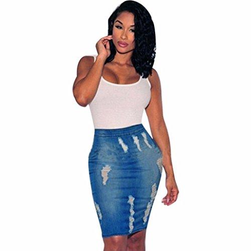 Fuibo [ Damen Rock ] Frauen Stretch Bodycon Bleistift hoch taillierte Loch Denim Jeans kurzen Minirock (Blau, XL) (Denim Plissee-rock)