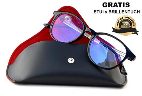 SIAH Blaulichtfilter Brille Retro - mit UV Schutz für PC Fernseher und Handy Bildschirme - Herren & Damen (Schwarz) - Steigere Deine Lebensqualität