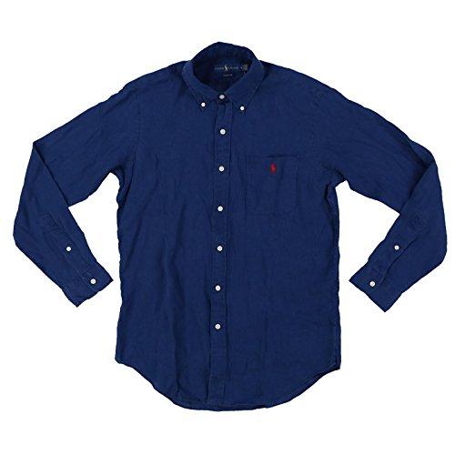 Ralph lauren camicia polo lino classic fit taschino pony (l, blu)