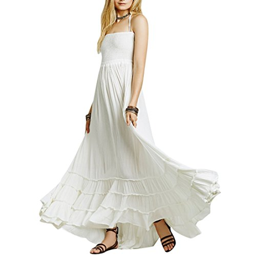 QIYUN.Z Doudoune Femmes Sans Manches Sans Manches Empire Taille Maxi Couches Robe Blanc