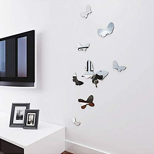 WWDDVH Gespiegelte 3D Wandaufkleber Stereo Schmetterling Wohnzimmer Nacht Sticks DIY Wohnkultur Tapete TV Hintergrund Kunst Wandaufkleber