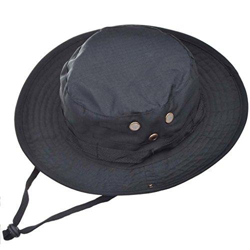 2 en 1 Sombrero del cubo de Deportes al Sol-shading Sol Gorro aire libre Boonie Hat Cap de Camuflaje Hombre Exterior Selva Equipo Montañismo Sombrero Viaje Pesca Hat (Black)