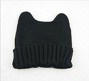 TFXWERWS Creative Lovely Winter Warm Knit Hörner Cat Ohr Mais Hat Beanie Cap für Frauen Mädchen (schwarz) (Ear Beanie Knit Cat)