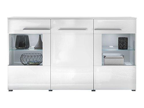 trendteam Wohnzimmer Sideboard Kommode Schrank Vision, 163 x 97 x 40 cm in Korpus Weiß, Front Weiß Hochglanz mit LED Glasbodenbeleuchtung in Kalt-Weiß