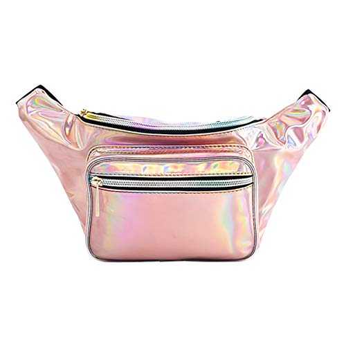Deeplive Holographic Fanny Pack,Waist Bag for Women Girls Men,Shiny Chest Pack Bum Bag for Rave,Festival,Ride,Party, Travel,Musicale (1-Holographic (White Christmas Musical Kostüm)