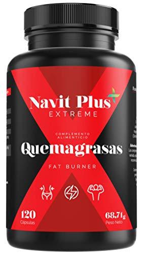 Quemagrasas potente para adelgazar.Suplemento deportivo para adelgazar Fat Burner de Navit Plus EXTREME. Termogénico potente, quema grasas natural. Nº1 en Quemagrasas deportivo.120 cápsulas vegetales.