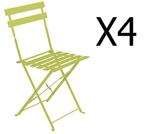 PEGANE Lot de 4 chaises Pliantes en Acier Coloris Granny - Dim: 42 x 47 x 81 cm