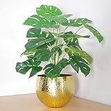 Leaf Plante Artificielle Monstera avec Pot en métal doré 60 cm