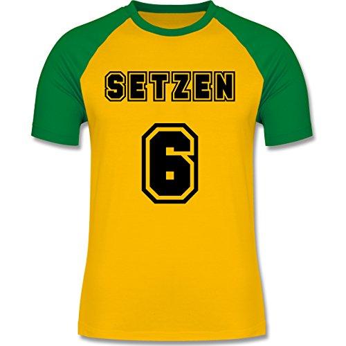 Statement Shirts - Setzen sechs Setzen 6 - zweifarbiges Baseballshirt für Männer Gelb/Grün