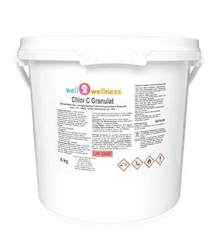 well2wellness Chlor C Granulat - Calciumhypochlorit Granulat mit ca. 70{d63d8795e3049fd8d949fdd249ab9dbc1c3d3d36706b8c2db91bd034a4a47959} Aktivchlor speziell für weiches Wasser - 5,0 kg