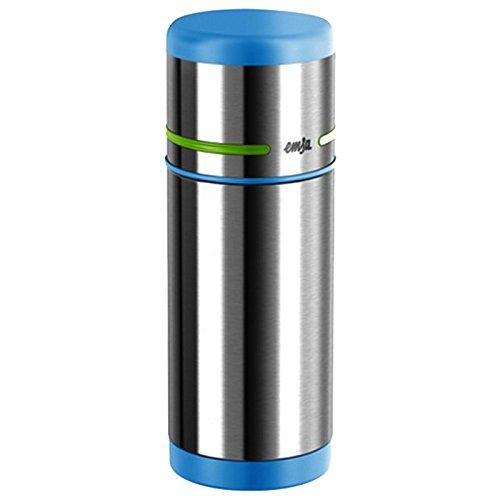 Emsa 515864 Isolierflasche mobility Kids, 0,35 L, 100 % dicht, Auto-Close, 12 Standard heiß/24 kalt, tropffreies Eingießen , blau / grün