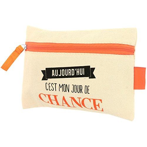 Promobo - Pochette De Maquillage Toilettes En Coton Inscription Fun Aujourd'hui C'est Mon Jour De Chance