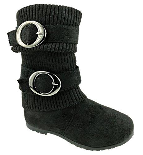 Anna ,  Mädchen Biker Boots , schwarz - schwarz - Größe: 28 (Stiefel Kinder)
