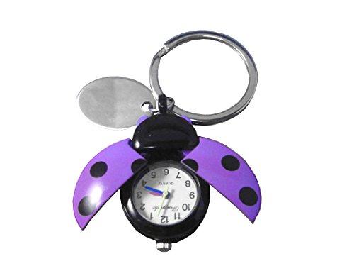 Personnalisé gravé Violet Coccinelle Montre porte-clés en pochette cadeau en velours noir réf – o24-prl-k