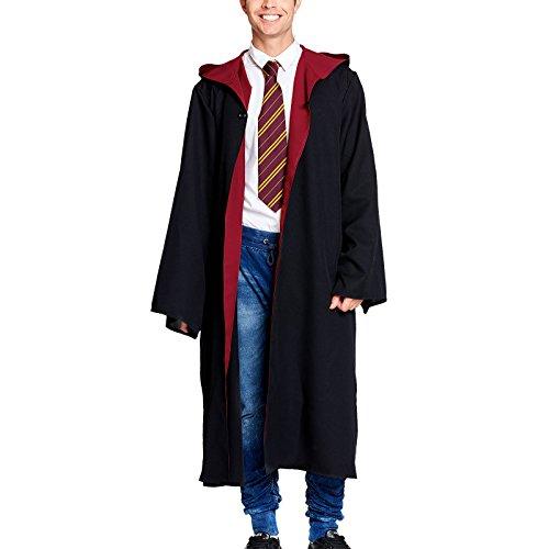 Kostüm Harry Erwachsene Potter (Zauberer Robe mit Kapuze für Erwachsene für Harry Potter Fans von Elbenwald schwarz rot)