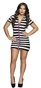 Boland 83866 - Disfraz de preso Sexy para Adultos, Talla M, Color Blanco y Negro