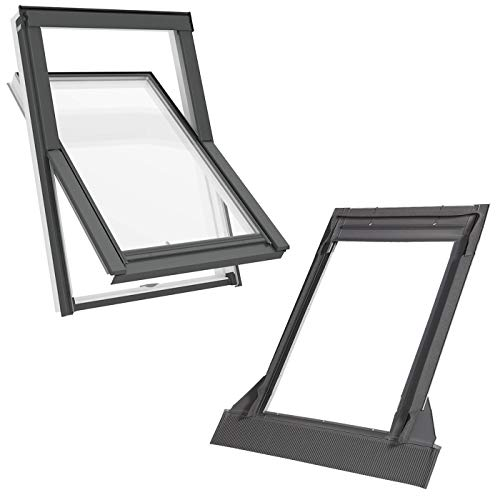 Solstro APX B700 Dachfenster, weißes PVC, kombiniert mit Universal-Eindeckrahmen - S6A, 114 x 118 cm