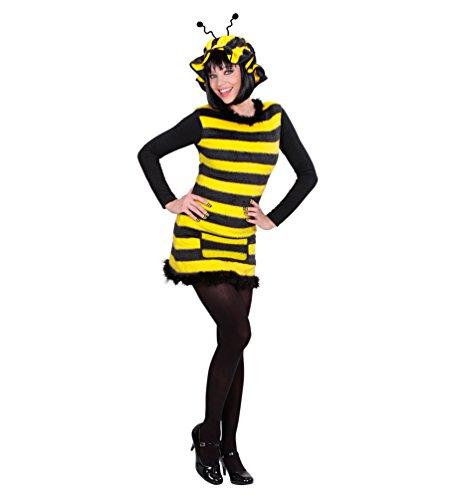 Karneval-Klamotten Kostüm Biene-n Damen Biene-n Damen-Kostüm Biene Kleid Bienchen Plüsch mit Bienen-Mütze Karneval Damen-Kostüm Größe 46/48