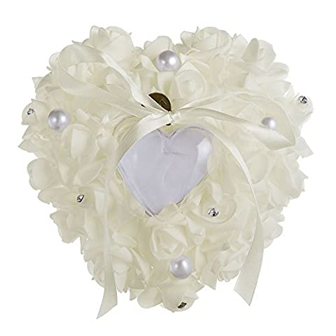LUVCALS Romantic Pearl Rose Wedding Favors Heart Shaped Gift Ring Box Pillow Cushion