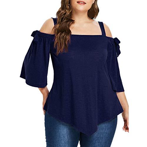 MRULIC Damen Große Größe Frauen Schwarz Spitze Schulterfrei T-Shirt Kurzarm Casual Strap Tops Bluse(A-Marineblau,3XL)