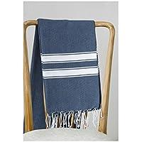 Asciugamano da mare Fouta, 100% cotone, A righe, 100 x 200 cm, colore: blu marino