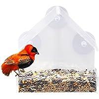 Fenster Futterhaus mit 3Saugnäpfen acryl zum Aufhängen Bird Feeder Vogelhäuschen klar Fenster Mount einfach zu reinigen und nachzufüllen Outdoor Garten Terrasse Dekoratives Zubehör, 15,2x 6,3x 15,2cm Perfekte Geschenk für Bird Lovers