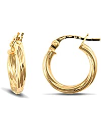 Jewelco London Ladies 9ct Yellow Gold Twisted 2.5mm Hoop Earrings 13mm