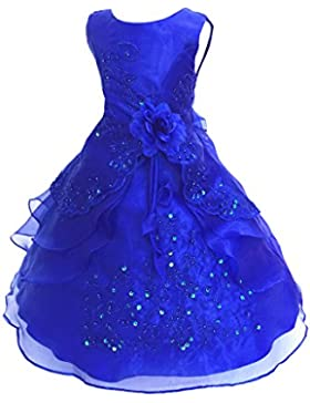 ba85866eceeb LPATTERN-Abito Bambina Ragazza Pizzo Floreale Bowknot del Organza ragazza  vestito ricamato con paillette da