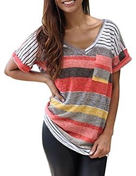 Camiseta ARESHION, para mujer, con cuello de pico, a rayas, manga corta, estilo informal