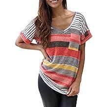 Camiseta ARESHION, para mujer, con cuello de pico, a rayas, manga corta