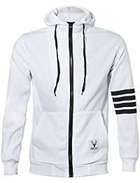 Malloom Moda Hombre sudaderas con capucha de marca de deportes cremallera Chaqueta Abrigos Outwear (blanco, M(EU36))