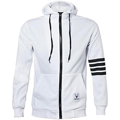 Malloom Moda Hombre sudaderas con capucha de marca de deportes cremallera Chaqueta Abrigos Outwear (blanco,