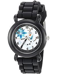 Disney Boy's 'Frozen Olaf' Quartz Plastic and Silicone Casual Watch Color:Black (Model: WDS000227)