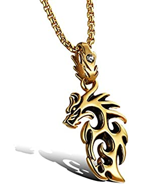 bigshopDE Edelstahl Kette Halskette Herren Anhänger mit Zirkonia Feuer Drache Retro Design