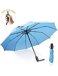 Ombrello Pieghevole Automatico,Antivento Ombrello Portatile, ANLAN 10 Stecche Rinforzate Anti-Vento Pioggia Automatico Ombrello da viaggio