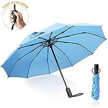 Paraguas Plegables Mujer, Paraguas Grande de 210 Teflón con 10 Férulas Reforzadas contra el Viento