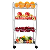 In-House 4511 4 Tier Fruit and Vegetable Storage Stand Cart Trolley, Silver, Stainless Steel