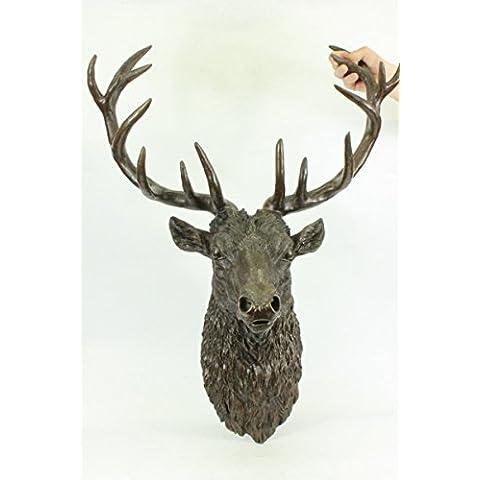 Escultura bronce estatua...Envío gratis...Tamaño firmado Carl Kauba vida Elk Cabeza de macho Busto(XN-0903-UK)Estatuas estatuilla estatuillas desnuda Oficina y Decoración del hogar Coleccionables Prim